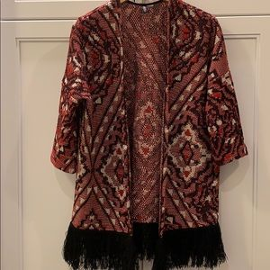 Divided | Open cardigan with fringe